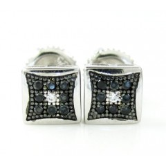 .925 White Sterling Silver Black & White Cz Earrings 0.18ct