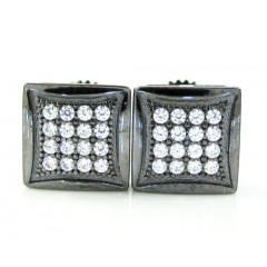 .925 Black Sterling Silver White Cz Earrings 0.32ct