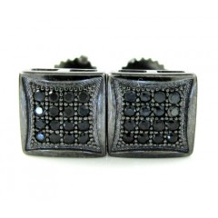 .925 Black Sterling Silver Black Cz Earrings 0.32ct