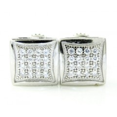 .925 White Sterling Silver White Cz Earrings 0.32ct