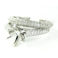 18k White Gold Diamond Semi Mount Ring Set 1.38ct