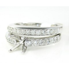 14k White Gold Diamond Semi Mount Ring Set 0.60ct