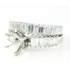 18k White Gold Baguette Diamond Semi Mount Ring Set 1.18ct
