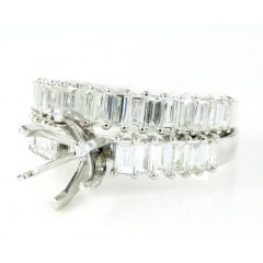 18k white gold baguette diamond semi mount ring set 1.18ct