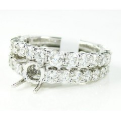 18k white gold round diamond semi mount ring set 2.21ct