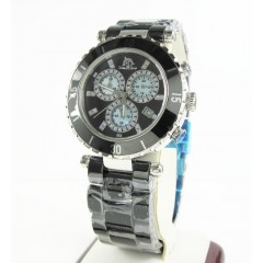 Ladies Techno Master Black Ceramic Stainless Steel Watch