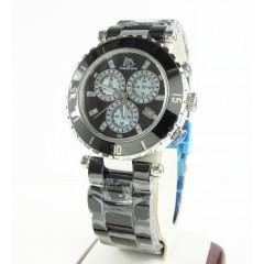 Ladies Techno Master Black Ceramic Stainless Steel Watch