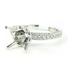 18k White Gold Round Diamond Semi Mount Ring 0.66ct