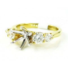 18k Yellow Gold Round Diamond Semi Mount Ring 0.79ct