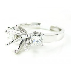 18k White Gold Princess Diamond Semi Mount Ring 0.68ct