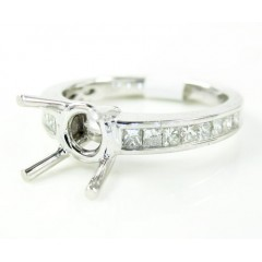 18k White Gold Princess Diamond Semi Mount Ring 0.45ct