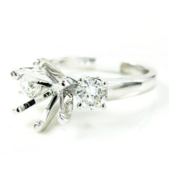 18k White Gold Round Diamond Semi Mount Ring 0.52ct