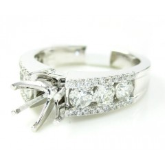 18k White Gold Round Diamond Semi Mount Ring 1.03ct
