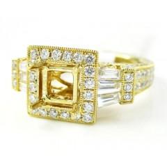 18k Yellow Gold Baguette & Round Diamond Semi Mount Ring 1.60ct