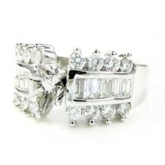 18k White Gold Round & Baguette Diamond Semi Mount Ring 0.79ct