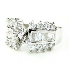 18k White Gold Round & Baguette Diamond Semi Mount Ring 0.79ct