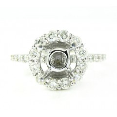 18k White Gold Round Diamond Semi Mount Ring 1.13ct