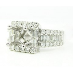 14k White Gold Round & Baguette Diamond Semi Mount Ring 0.93ct