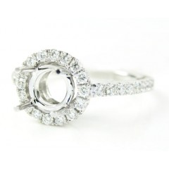 18k White Gold Round Diamond Semi Mount Ring 0.39ct
