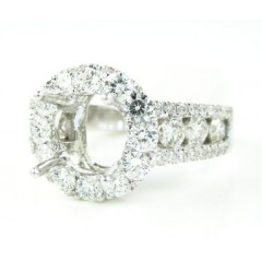 18k White Gold Round Diamond Semi Mount Ring 1.41ct