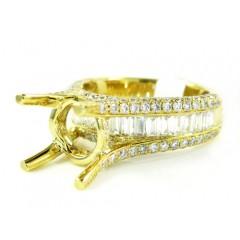 18k Yellow Gold Round & Baguette Diamond Semi Mount Ring 1.66ct