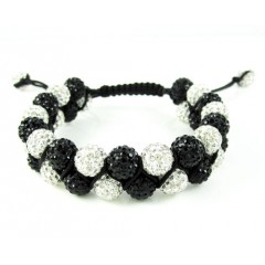 Black & White Rhinestone Macramé Bead Black Rope Bracelet 18.00ct