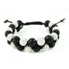 Black & White Rhinestone Macramé Bead Black Rope Bracelet 18.00ct