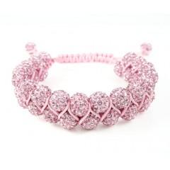 Pink Rhinestone Macramé Bead Pink Rope Bracelet 18.00ct