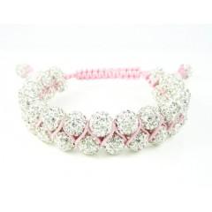 White Rhinestone Macramé Bead Pink Rope Bracelet 18.00ct