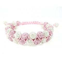 White & Pink Rhinestone Macramé Bead Pink Rope Bracelet 18.00ct