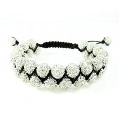 White Rhinestone Macramé Bead Black Rope Bracelet 18.00ct