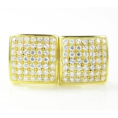 .925 Yellow Sterling Silver White Cz Earrings 0.98ct