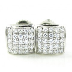.925 White Sterling Silver White Cz Earrings 0.50ct