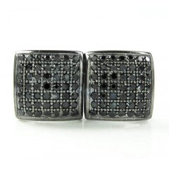 .925 Black Sterling Silver Black Cz Earrings 0.85ct