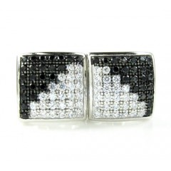 .925 White Sterling Silver Black & White Cz Earrings 1.12ct