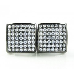 .925 Black Sterling Silver White Cz Earrings 0.98ct