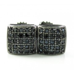 .925 Black Sterling Silver Black Cz Earrings 0.50ct