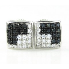 .925 black sterling silver white & black cz earrings 0.50ct