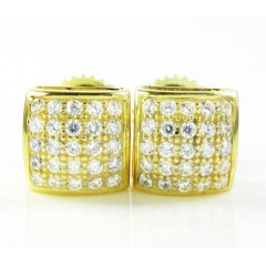 .925 yellow sterling silver white cz earrings 0.50ct