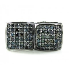 .925 Black Sterling Silver Black Cz Earrings 0.72ct