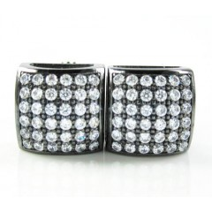 .925 Black Sterling Silver White Cz Earrings 0.72ct