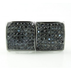 .925 Black Sterling Silver Black Cz Earrings 1.28ct
