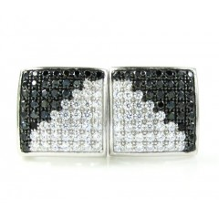 .925 White Sterling Silver White & Black Cz Earrings 1.28ct