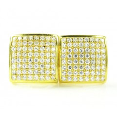 .925 Yellow Sterling Silver White Cz Earrings 1.28ct