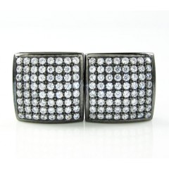 .925 black sterling silver white cz earrings 1.28ct