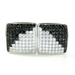 .925 White Sterling Silver Black & White Cz Earrings 1.28ct