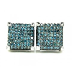 10k White Gold Blue Diamond Cube Pave Earrings 0.35ct