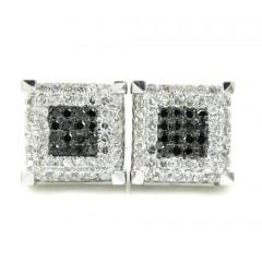 10k White Gold White & Black Diamond Cube Pave Earrings 0.35ct