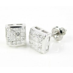 14k White Gold White Princess Cut Diamond Cube Earrings 0.48ct