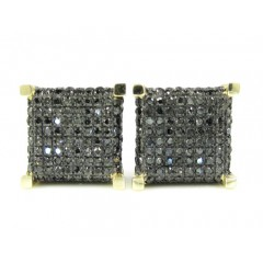 14k Yellow Gold Black Diamond Cube Pave Earrings 0.90ct